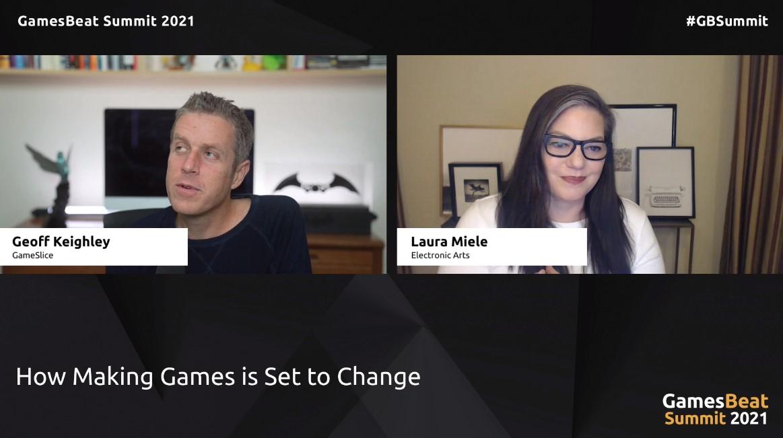 Laura Miele de EA hablanco con Geoff Keighley