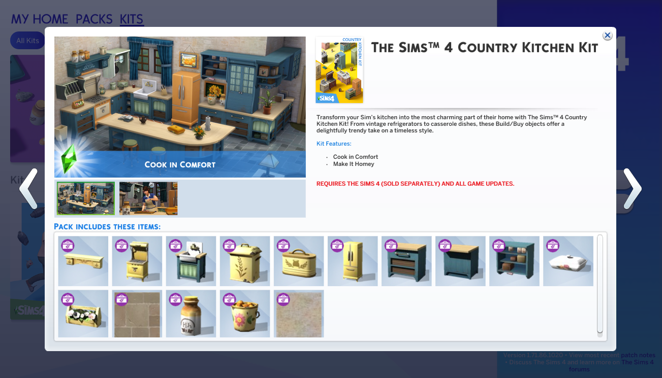 Contenidos de Los Sims 4 Cocina Campestre - Kit