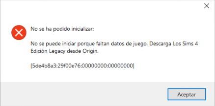 Error 5de4b8a3 al iniciar Los Sims 4